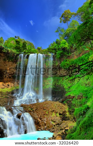 Dambri waterfall in central highland of Vietnam. HDR tonemapped - stock photo