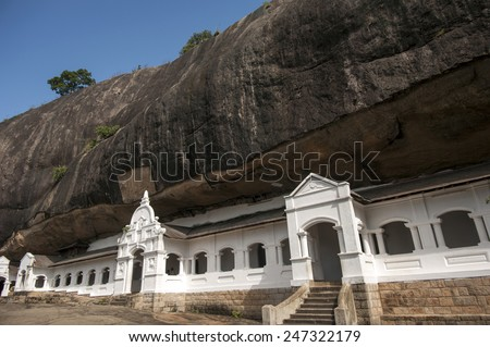 Dambulla cave temple in Matale district, Srilanka. - stock photo