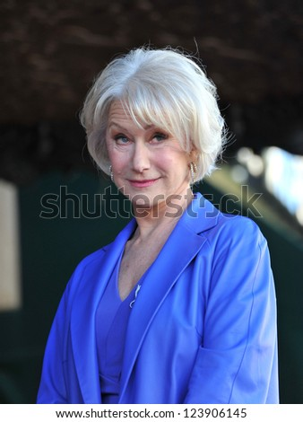 Dame Helen Mirren on Hollywood Boulevard where she was honored with the 2,488th star on the Hollywood Walk of Fame. January 3, 2013  Los Angeles, CA Picture: Paul Smith - stock photo