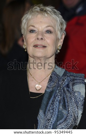 "Dame Judi Dench arriving for the premiere of ""The Best Exotic Marigold Hotel"" at the Curzon Mayfair cinema, London. 07/02/2012 Picture by: Steve Vas / Featureflash"