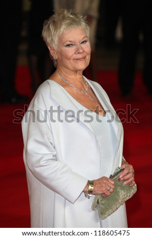 Dame Judi Dench arriving for the Royal World Premiere of 'Skyfall' at Royal Albert Hall, London. 23/10/2012 Picture by: Alexandra Glen