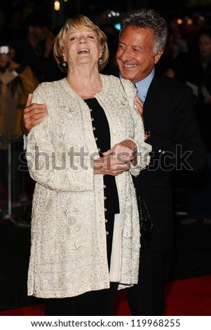 "Dame Maggie Smith and Dustin Hoffman at the premiere for ""Quartet"" being shown as part of the London Film Festival 2012, Odeon Leicester Square, London. 15/10/2012 Picture by: Steve Vas - stock photo"