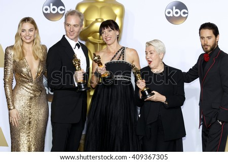 Damian Martin, Elka Wardega, Lesley Vanderwalt, Margot Robbie and Jared Leto at the 88th Annual Academy Awards - Press Room held at the Loews Hotel in Hollywood, USA on February 28, 2016. - stock photo