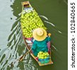 Damnoen Saduak Floating Market near Bangkok in Thailand - stock photo