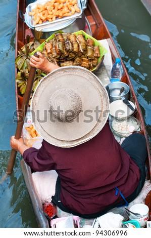 Damnoen Saduak Floating Market near Bangkok, Thailand - stock photo
