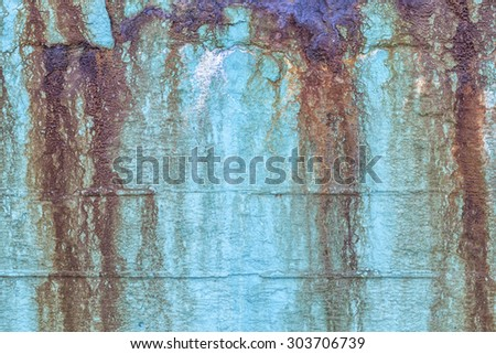 Damp blue colored wall