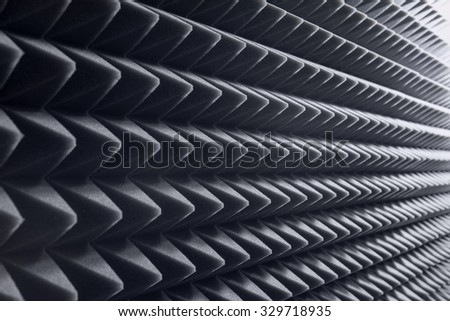Dampening acoustical foam in recording studio - stock photo