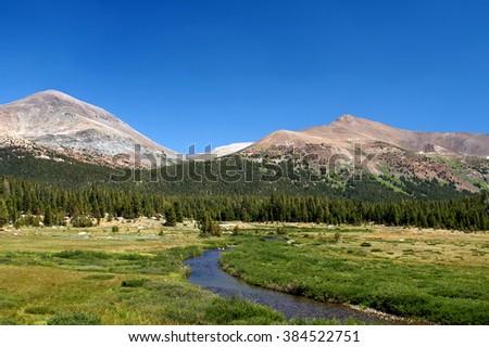 Dana Meadows with Mammoth Mountain.  Destination Tioga Road in Yosemite National Park - stock photo