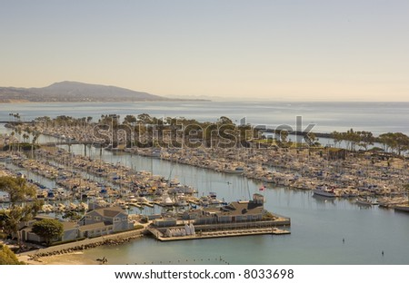Dana Point Harbor taken from the hills above. - stock photo