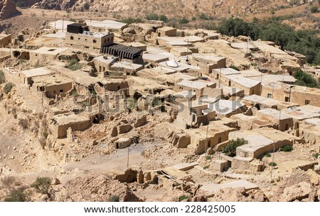 Dana village, in the Dana biodiversity reserve in Jordan. Dana was abandoned in the 20th Century but since the establishment of the reserve in 1993 it has been being redeveloped. Photo date  2004. - stock photo