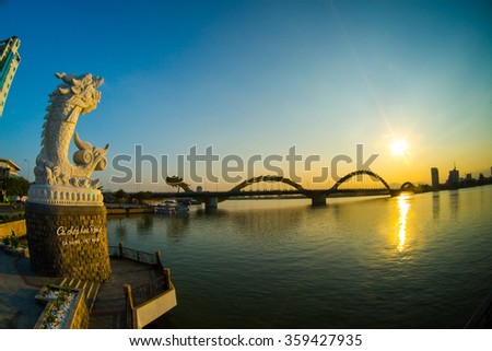 DANANG, VIETNAM - JANUARY 4, 2016: Dragon River Bridge ( Rong Bridge) in sunset in Da Nang, Vietnam.