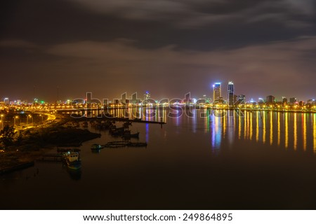 Danang, Vietnam January 07, 2015 Lanscape of Han River at night. view from Thuanphuoc bridge