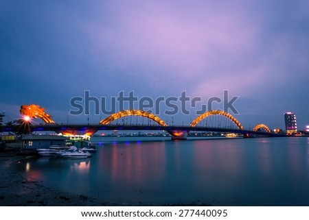 DANANG, VIETNAM, MAY 07, 2015. Dragon River Bridge, Cau Rong ( Rong Bridge) in Da Nang, Vietnam