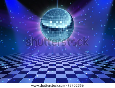 Dance floor disco night with a mirror ball symbol of fun and dancing party in a nightclub or dance club with glowing stage lights and wall reflections and checkered floor. - stock photo