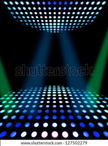 Dance floor disco poster background. Illuminated spotlights - stock photo