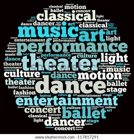 Dance info-text graphics and arrangement concept on white background (word cloud)