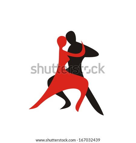 Dance pair sign red and black illustration - stock photo