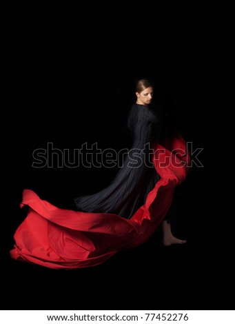 Dance with a red - stock photo