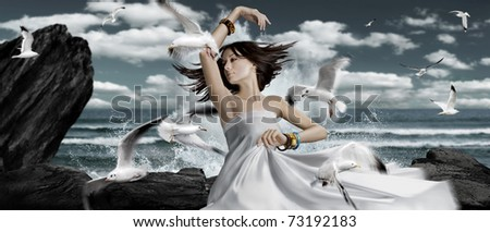 dance with seagulls. see more on my page - stock photo