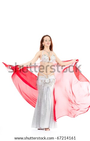 dance woman over white background with brown hair