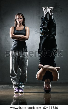 Dancer couple. Contrast colors effect. - stock photo