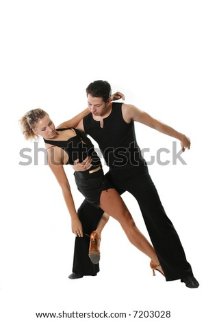 dancer dancing american latin couple beauty isolated - stock photo