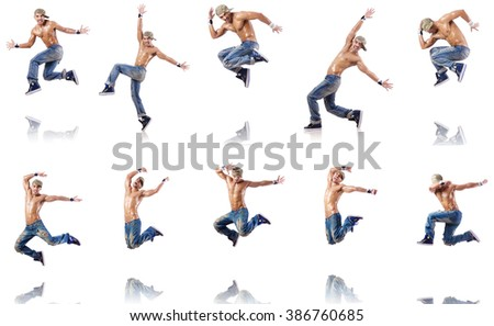Dancer dancing dances isolated on white - stock photo