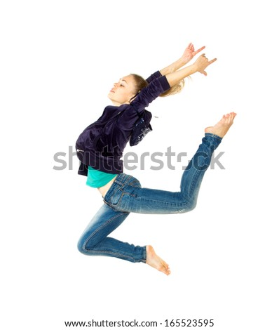 Dancer girl, isolated on white