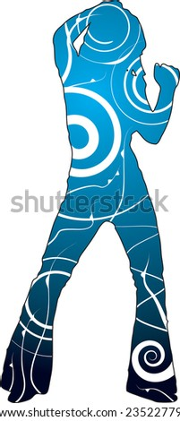 Dancer illustration with a floral theme on a two tone blue background - stock photo