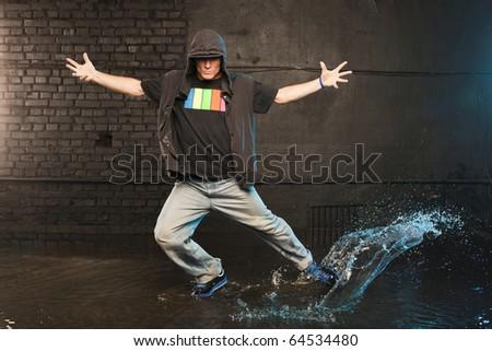 Dancer in aqua studio - stock photo
