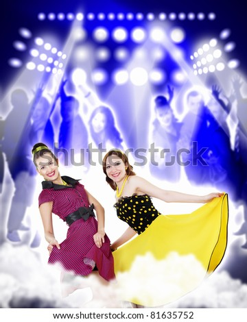Dancer in the retro style, 50s on a bright color background.collage - stock photo