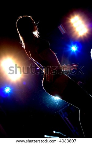 dancer on  the rave - stock photo