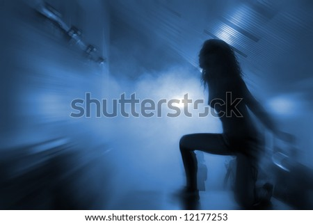 dancer's silhouette. good use like background - stock photo