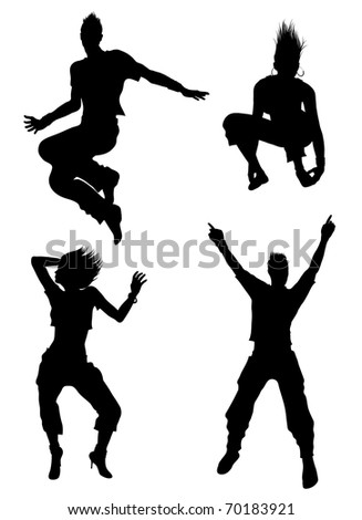 Dancer silhouettes (also available vector version) - stock photo