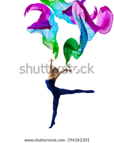 Dancer Woman Gymnastic with Flying Cloth, Girl Gymnast in Leotard Pose with Waving Fabric, isolated over White Background - stock photo
