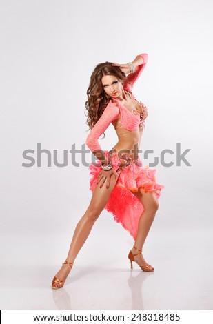 Dancer woman latino dance, dancing samba girl, sexy female dancer, modern ballerina, Elegant Latino dancer girl in action. Isolated on white. series - stock photo