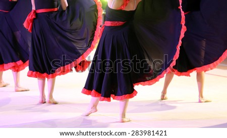 dancers during the performance of flamenco dancing - stock photo