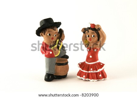 Dancers figures isolated on the white background - stock photo