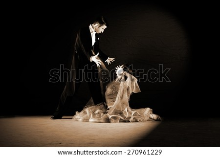 dancers in ballroom isolated on black background - stock photo