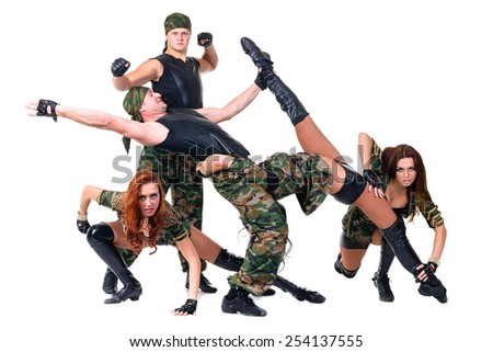 dancers in camouflage.  Isolated on white background in full length. - stock photo