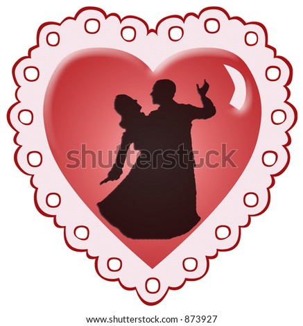 Dancers silhouetted against a red heart