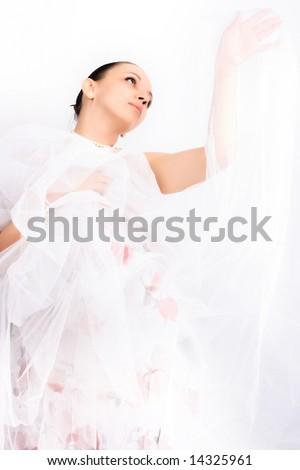 Dancing ballerina and elegance motion - stock photo