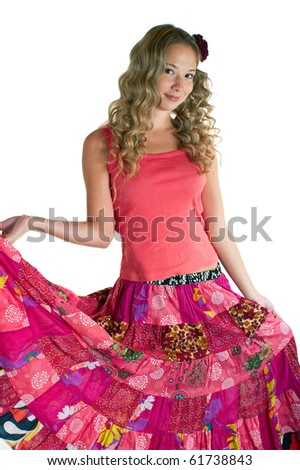 Dancing beauty girl in pink on white background. Isolation