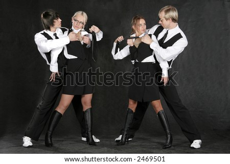 dancing business group - stock photo