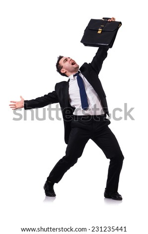Dancing businessman isolated on the white - stock photo