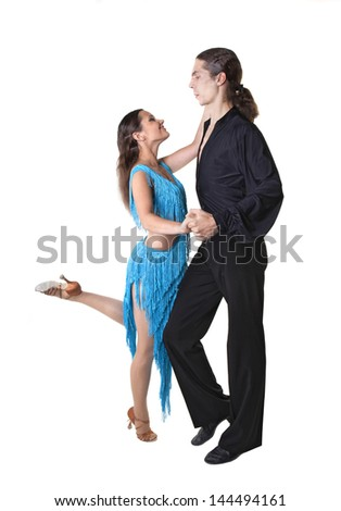 Dancing couple isolated over white background