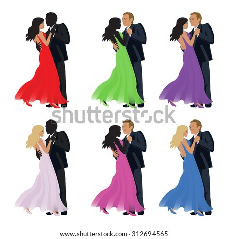 Dancing couple on a white background - stock photo