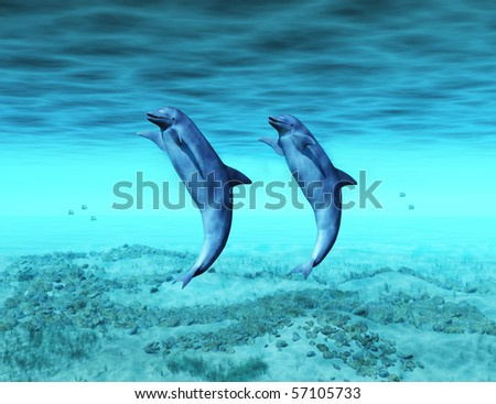 dancing dolphins - stock photo