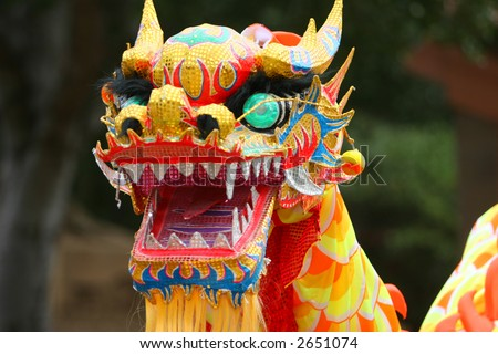 Dancing Dragon in Chinese New Year Festival - stock photo