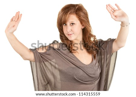 Dancing European woman in brown dress over white - stock photo